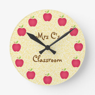 Personalized Red Apple Classroom Round Clock