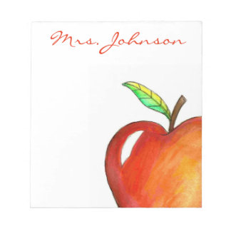 Personalized Red Apple for the Teacher Notepad