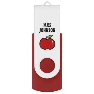 Personalized red apple school teacher assistant swivel USB 2.0 flash drive