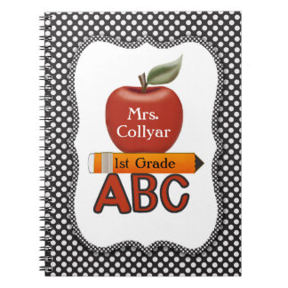Personalized Red Apple Teacher's Journal Note Books