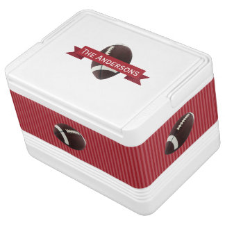 Personalized Red Banner Stripe Football Sports Igloo Cooler