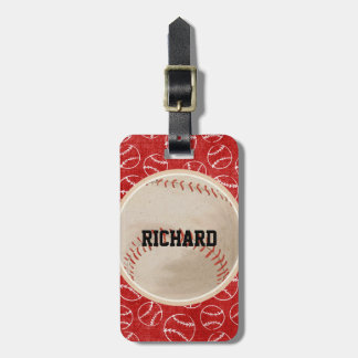 Personalized Red Baseball Pattern with Baseball Bag Tag