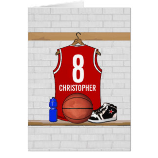 Personalized Red Basketball Jersey Cards