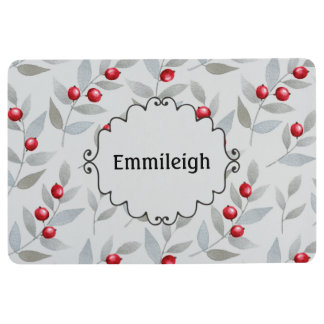 Personalized Red Berries Gray Leaves Floor Mat