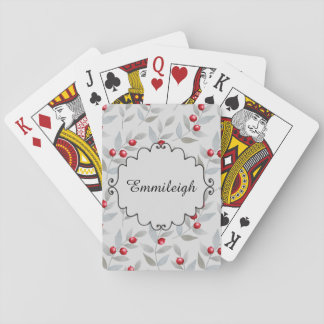 Personalized Red Berries on Gray Leaves Playing Cards