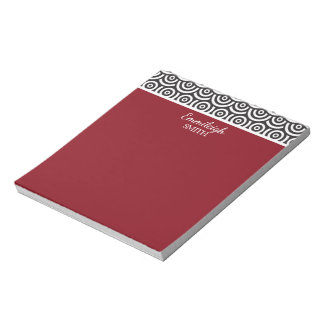 Personalized  Red Black and White Retro Notepad