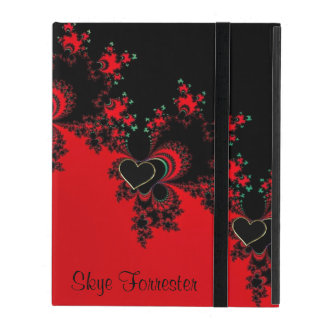 Personalized Red Black Heart Fractal iPad Case