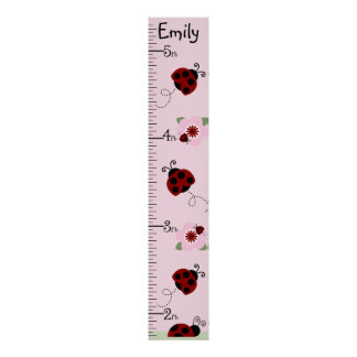 Personalized Red & Black Ladybugs Growth Chart
