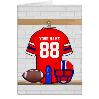 Personalized Red BW Football Grid Iron Jersey Greeting Card