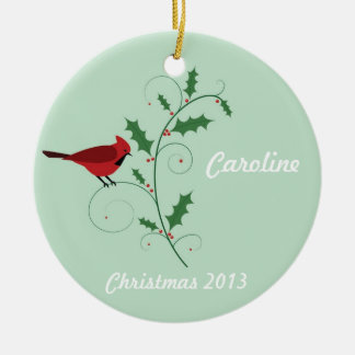 Personalized Red Cardinal Christmas Ornament