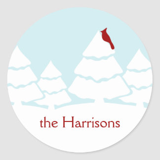 Personalized Red Cardinal Christmas Stickers