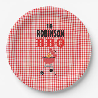 Personalized Red Checkered BBQ  Paper Plates 9 Inch Paper Plate