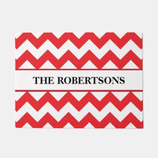 Personalized Red Chevron Doormat