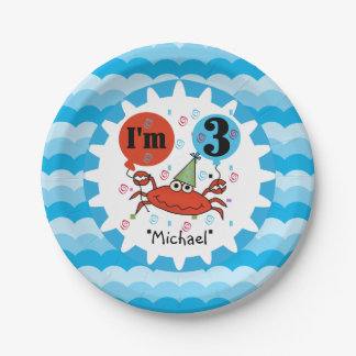 Personalized Red Crab 3rd Birthday Paper Plates