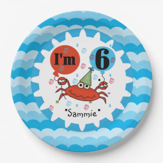 Personalized Red Crab 6th Birthday Paper Plates