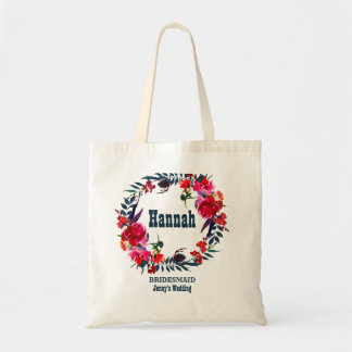 Personalized Red Floral Bohemian Bridesmaid Tote Bag