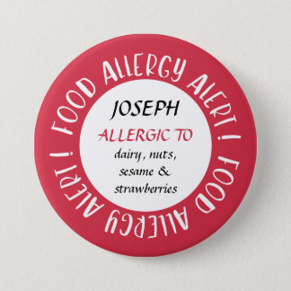 Personalized Red Food Allergy Alert Customized 7.5 Cm Round Badge