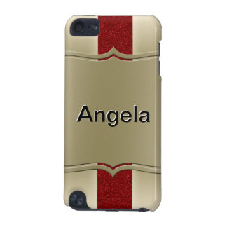 Personalized Red Glitter and Gold Stripes Pattern iPod Touch 5G Case
