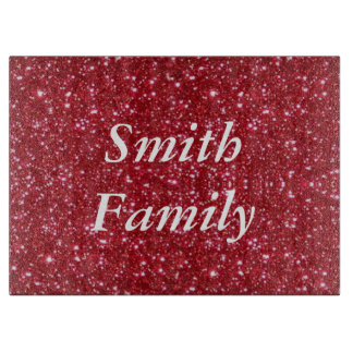 Personalized Red Glitter Cutting Board