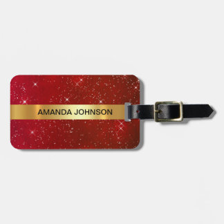 Personalized Red Glitter Golden Luggage Luggage Tag