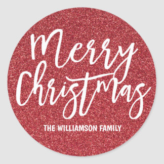 Personalized Red Glitter Merry Christmas Classic Round Sticker