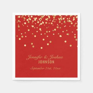Personalized RED Gold Confetti Wedding Paper Napkin