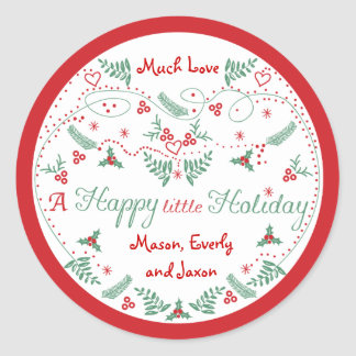 Personalized Red Green Holly Happy little Holiday Round Sticker