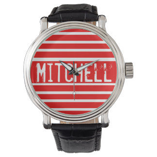 Personalized Red H Striped MPF Watch