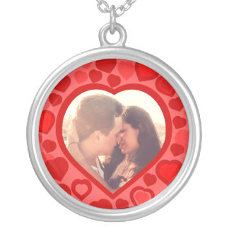 Personalized red hearts photo silver plated necklace