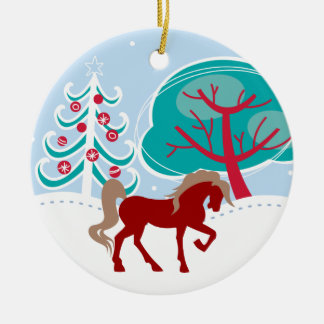Personalized Red Holiday Horse Snowy Winter Round Ceramic Decoration