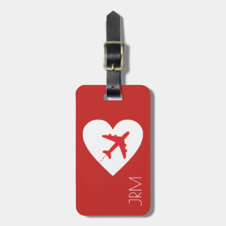 personalized red love airplane travel luggage tag
