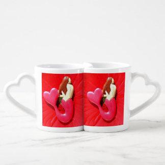 personalized red mermaids coffee mug set