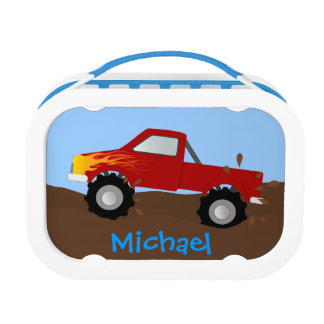 Personalized Red Monster Truck Lunch Box