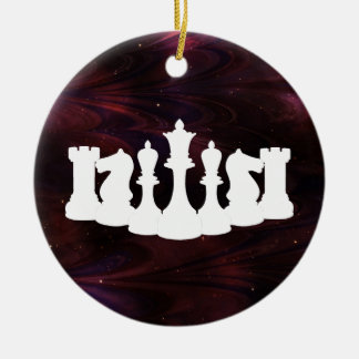 Personalized Red Nebula Chess Ornament