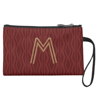 Personalized Red Patterned Bag Wristlet Purses