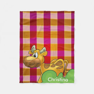 Personalized red plaid cow Fleece Blanket