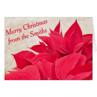 Personalized Red Poinsettia Leaf Card