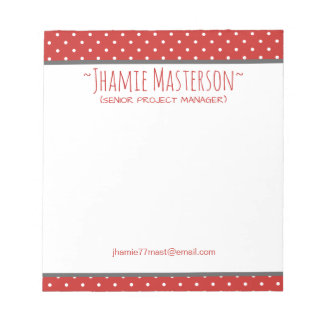Personalized Red Polka Dot Notepad