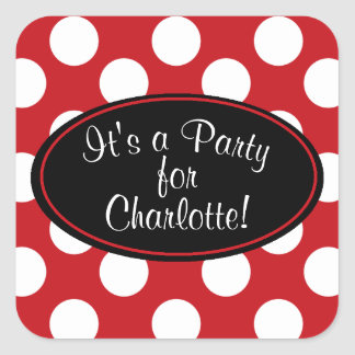 Personalized Red Polka Dot Sticker