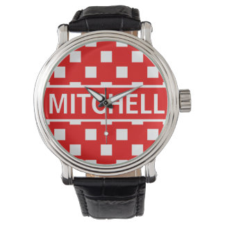 Personalized Red Polka Square BCF Watches