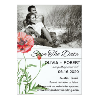 Personalized Red Poppies Simplicity Save The Date 11 Cm X 16 Cm Invitation Card