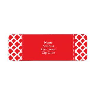 Personalized Red Quatrefoil Pattern Return Address Label