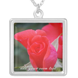 Personalized Red Rose Pendant