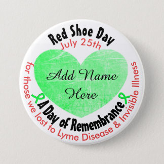 Personalized Red Shoe Day, in Memorial Button
