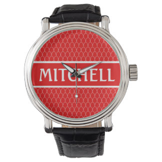 Personalized Red SM Dragon Scale Wristwatches