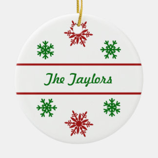 Personalized Red Snowflake Christmas Ornament