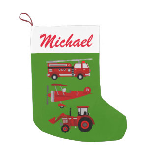 Personalized Red Toy Fire Truck, Plane and Tractor Small Christmas Stocking