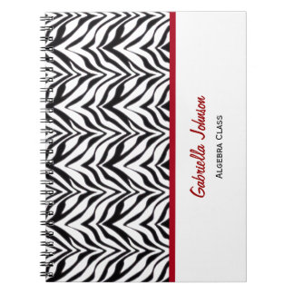 Personalized: Red Trimmed: Zebra Print Notebook