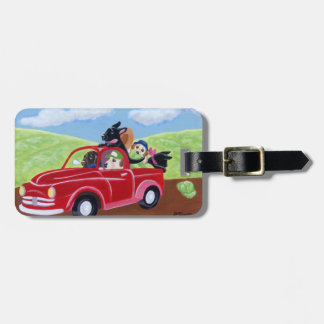 Personalized Red Truck and Labradors Luggage Tag