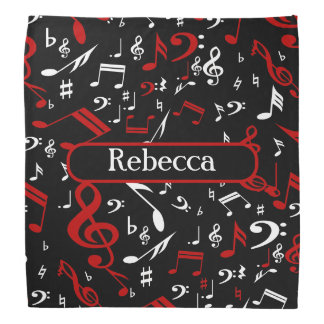 Personalized Red White and Black Musical Notes Bandana